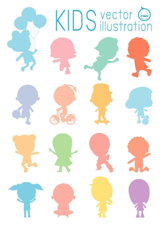 Sagoma di isolati colorato bambini su sfondo bianco, set di diversi bambini isolato su sfondo bianco. illustrazione vettoriale Archivio Fotografico - 55417080