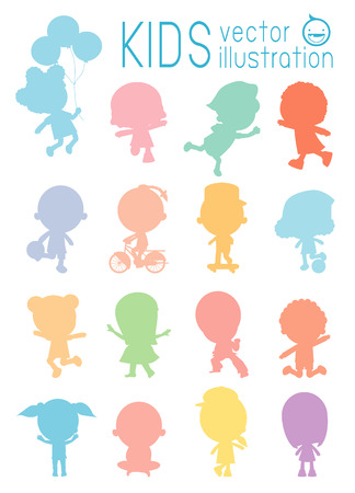 silhouette of isolated colorful kids on white background,  Set of diverse kids isolated on white background. Vector Illustration