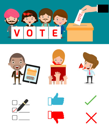 staffs: Elections with voting debates, Hand casting a vote,Voting concept in flat style Illustration