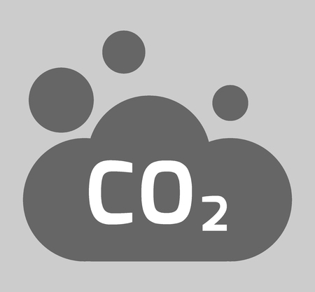 dioxide: co2, carbon dioxide icon. environment concept. flat design illustration on background.