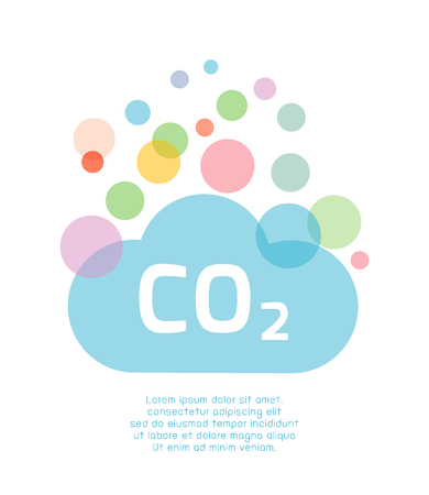 dioxido de carbono: co2, icono de dióxido de carbono. concepto de medio ambiente. Diseño de la ilustración plana en el fondo. Vectores