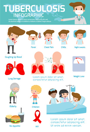 Tuberculosis element infographics, Medical and healthcare Infographic, tuberculosis,Tuberculosis vector infographic, set elements and symbols for design,vector illustration.tb, Vettoriali