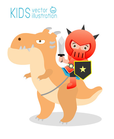 children's story: Knight sitting on a monster isolated on white background, cute Superhero in Story, Superhero Childrens, Superhero Kids. Knight sitting on a dragon,Vector Illustration.