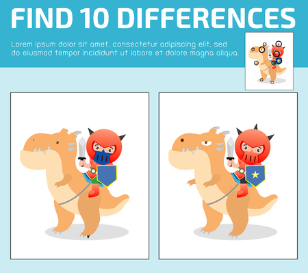 find: find differences,Game for kids ,find differences,Brain games, children game, Educational Game for Preschool Children, Vector Illustration, Knight sitting on a monster Illustration