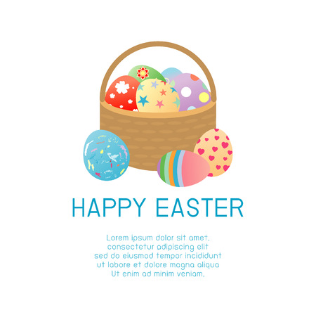 basket: Happy Easter, Basket with color Easter eggs isolated on white background. Easter eggs.Happy Easter banners with easter eggs in a basket. Vector illustration.