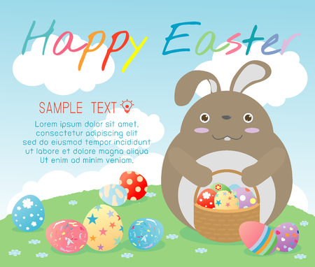 hunt: Happy Easter,cute Easter rabbits with Easter eggs, bunny with colorful easter eggs on grass, bunny and Easter eggs,rabbit and Easter eggs on background, Happy Easter greeting card,Vector illustration. Illustration