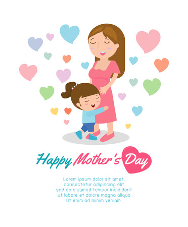 Beautiful mother with her daughter. Card of Happy Mothers Day. Vector illustration with beautiful women and child, happy mothers day card vector illustration Illustration