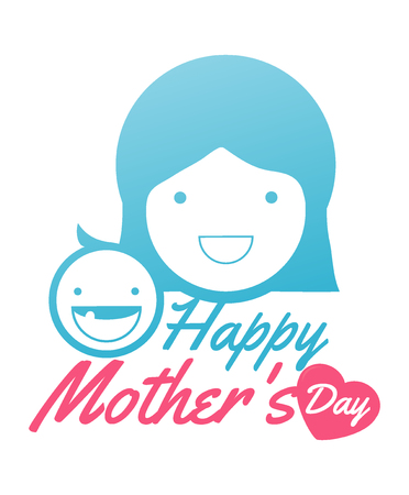 love mom: mother and her baby. Card of Happy Mothers Day. mother and her baby, isolated vector symbol,  beautiful women and child, happy mothers day card vector illustration