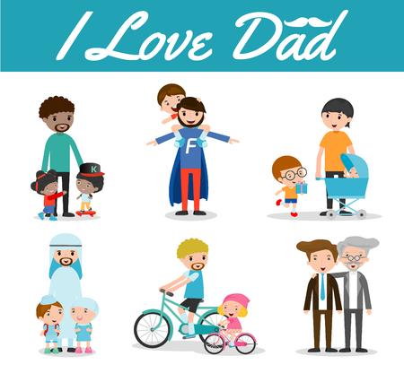 Set di padre e figlio isolato su sfondo bianco, i love dad, Giorno Buon padre, padre e figlio, il padre con il bambino. illustrazione di vettore Archivio Fotografico - 55728825