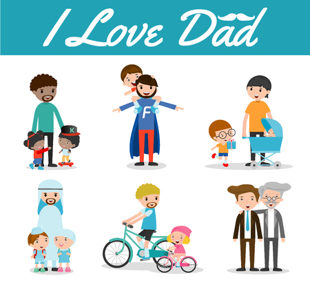 set of father and Child isolated on white background, i love dad, Happy father Day, father and child, father with kid. Vector illustration