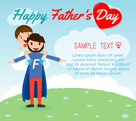 child sitting: little boy sitting on his daddys shoulder on background card of Happy fathers Day. Superhero father and son, fathers and child, happy fathers day card vector illustration