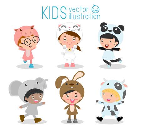 niños actuando: Conjunto de niños lindos que llevan trajes de animales aislados sobre fondo blanco, Los niños pequeños en sus trajes de animales, Kid con el traje de los animales, el niño lindo en el vestuario, la ilustración vectorial.