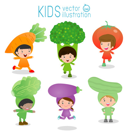little child: Set of cute kids wearing vegetables costumes isolated on white background, Little Cute children in costumes vegetable, children dressed like vegetables, cute child in costume,Vector Illustration.