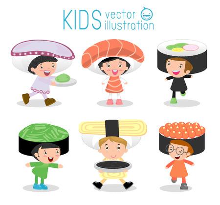 Conjunto de niños lindos que llevan trajes de sushi aisladas en el fondo blanco, Los niños pequeños lindos en trajes Sushi, niños vestidos como la comida japonesa, el niño lindo en el vestuario, la ilustración vectorial.