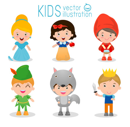 Set of cute kids wearing story costumes isolated on white background, Little children in their fairy tale Costumes,cartoon story people, cute child in costume ,child and fairytale story, Vector