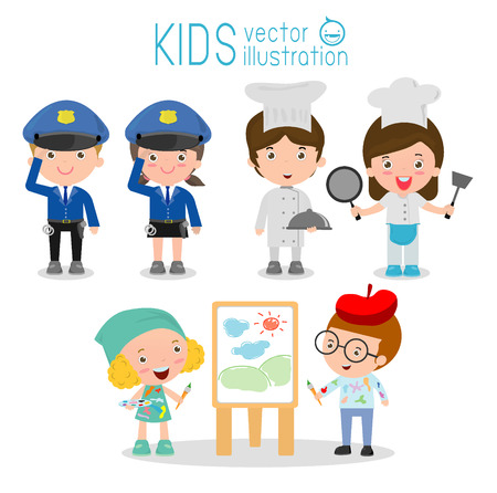 cosplay: set of cute professions for kids isolated on white background ,Professions icon set, police,artist, chef, Childrens dream jobs, Happy children in work wear.  Vector Illustration