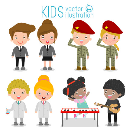 cosplay: set of cute professions for kids isolated on white background ,scientist, musician, businessman,soldier, Professions icon set, Childrens dream jobs, Happy children in work wear. Vector Illustration Illustration