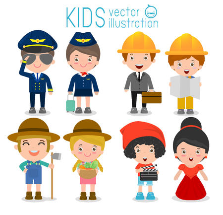 celebrities: professions for kids,set of cute professions for kids isolated on white background, pilot,air hostess, engineering,farmer,director,celebrities,  Childrens dream jobs, Vector Illustration Illustration