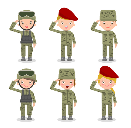 set of Soldier in camouflage uniform on military, men and women, flat cartoon character design isolated on white background,Cute flat cartoon style,Isolated vector illustration.