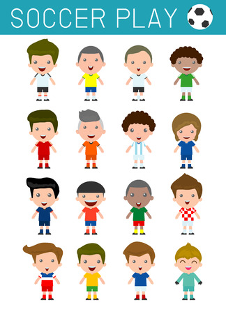 nationalities: Set of diverse soccer player isolated on white background, football player,Different nationalities and dress styles. European soccer, Americas soccer, Asian soccer,African soccer,vector illustrations