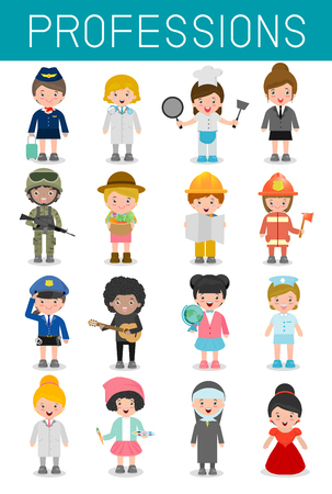 profession: big set of cartoon vector characters of different professions isolated on white background, professions for kids, children profession, different people professions characters set, kids profession