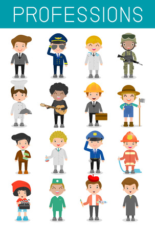 big set of cartoon vector characters of different professions isolated on white background, professions for kids, children profession, different people professions characters set, kids profession Imagens - 55733454