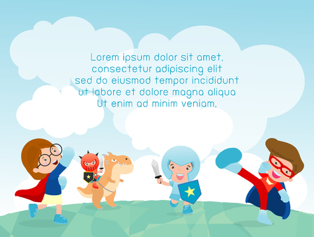 kinder garden: superhero kids at playground, superhero kids playing outside, Template for advertising brochure,your text ,Cute little Superhero Childrens, Kids and frame,child and frame,Vector Illustration Illustration
