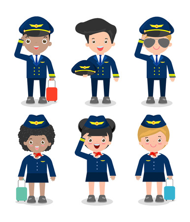 pilot and stewardess. set of officers and flight attendants Stewardesses  isolated on white background, pilot and air hostess, flight attendant, pilot Vettoriali