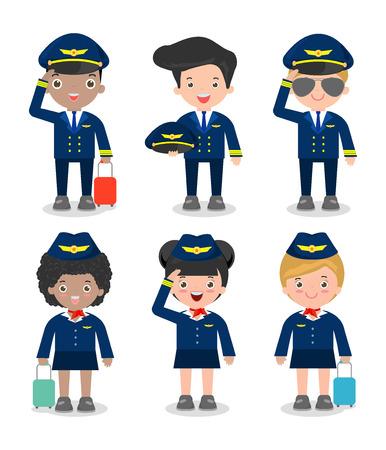 Pilote et hôtesse de l'air. ensemble des officiers et agents de bord Stewardesses isolé sur fond blanc, pilote et hôtesse de l'air, agent de bord, pilote Banque d'images - 55733491
