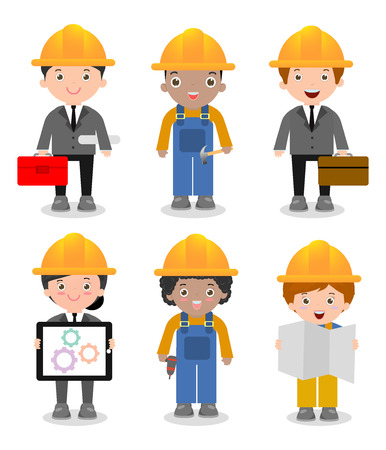project manager: Set of cute construction Engineering Industrial Workers Project Manager isolated on white background, Engineer man and woman,Civil engineer, architect and construction workers, Vector Illustration