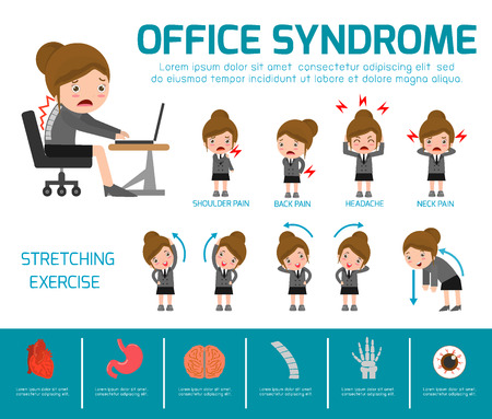 Office syndrome. health care concept. infographic element. vector flat icons woman cartoon design. brochure poster banner illustration. isolated on white background