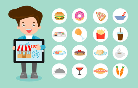 order: Order food online, online ordering and fast food delivery service, Network and delivery,business restaurant concept, searching for recipes, ordering food online,vector illustration
