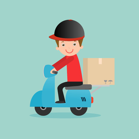man illustration: delivery service, delivery man is riding motor bike,Fast and Free Transport, man hipster is riding motorbike,modern design flat character people, graphic vector illustration, delivery business concept. Illustration