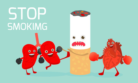 Stop smoking,No smoking,cartoon vector cartoon illustration, May 31st World no tobacco day,The lungs and heart and are fighting against smoking.