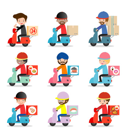 conjunto de servicio de entrega, entrega hombre está montando en bicicleta de motor, transporte, inconformista hombre está montando en moto, las personas modernas del diseño de carácter plana, ejemplo gráfico del vector, el concepto de negocio de entrega