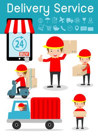 servicio de entrega, hombre de entrega, logística de negocios, conjunto de expedición y el transporte, las personas modernas del diseño de carácter plana, iconos planos modernos de servicio de entrega, el concepto de negocio de entrega Ilustración de vector