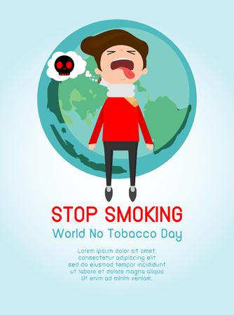 rotting: Stop smoking,No smoking,cartoon vector illustration, May 31st World no tobacco day, World No Tobacco Day Vector Concept Stop Smoking on Background. Illustration
