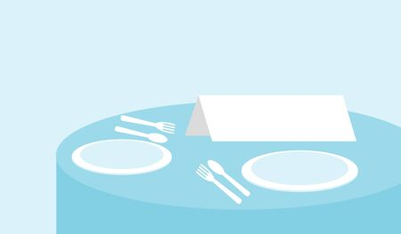 setting table: sign on a restaurant table, Illustration vector