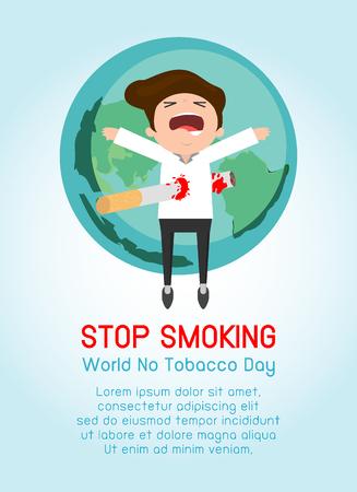 world globe: Stop smoking,No smoking,cartoon vector cartoon illustration, May 31st World no tobacco day, World No Tobacco Day Vector Concept Stop Smoking on Background.