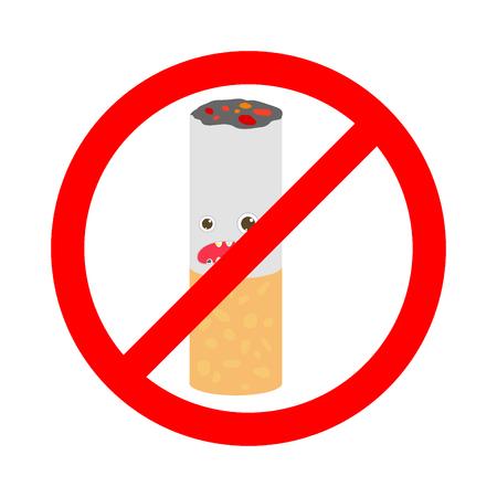 pernicious habit: No smoking sign on white background, No Smoking Sign , stop smoking, No Smoking ,cartoon Illustration.