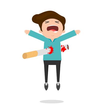 Aufhören zu rauchen, Nichtraucher, Zigarette tötet ein Mann, Cartoon-Vektor-Illustration, Weltnichtrauchertag, Konzept Stop Smoking auf Hintergrund. Vektorgrafik