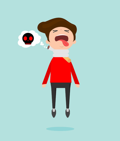 Stop smoking,No smoking, Cigarette kills man, cartoon vector illustration, World No Tobacco Day, Concept Stop Smoking on Background.