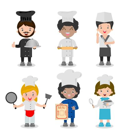 cartoon hat: set of professional chefs,Chef ethnically diverse, Chef team Isolated on white background, cooking chefs illustration, cooks chefs, cook people, Cute Kids Chef, Children Cooking,