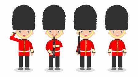 conjunto de soldados, soldados británicos con arma, niños que llevan trajes de los soldados, la Guardia de la Reina, soldados del ejército británico, diseño de personaje de dibujos animados plana aislados sobre fondo blanco. Ilustración de vector