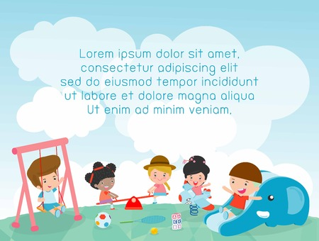 children in the playground, Template for advertising brochure, kids at playground, kids time,your text ,Kids and frame,child and frame,Illustration