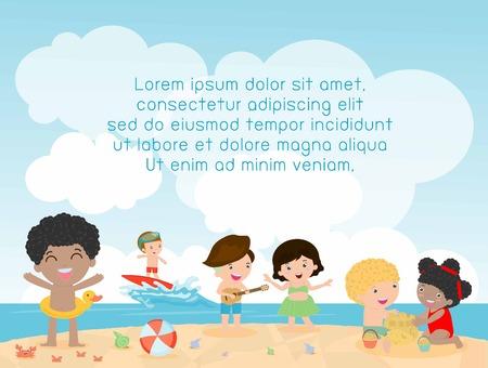 spiaggia: bambini sulla spiaggia, bambini che giocano sulla spiaggia, Modello per brochure pubblicitaria, ora i bambini, l'estate del bambino, il testo, i bambini e telaio, bambino e cornice, illustrazione