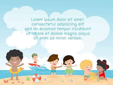 beach: kids on the beach , children playing on the beach, Template for advertising brochure, kids time, child summer, your text ,Kids and frame,child and frame,Illustration
