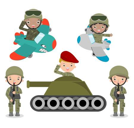 female soldier: set of soldiers, cartoon Soldier set, kids wearing soldiers costumes,  children Soldier,flat cartoon character design isolated on white background, US Army , soldiers Isolated illustration