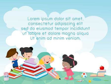 school kids: back to school, kids school, education concept, Kids go to school, Template for advertising brochure, your text ,Kids and frame,child and frame,Illustration, Cute cartoon happy children. Illustration