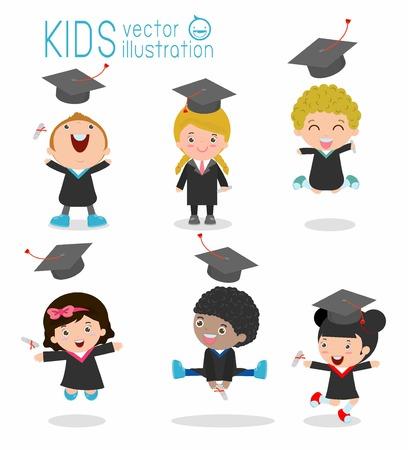 graduacion niños: conjunto de los niños de la graduación, graduados niño feliz, niños felices que saltan, graduados en vestidos y con diploma de graduación, los estudiantes en el fondo blanco, ilustración Vectores